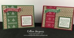 Creating with Colleen: Cable Knit embossing folder, warmth & cheer designer series paper stack Time of Year stamp set Flurry of Wishes stamp set Christmas Stampin' Up!