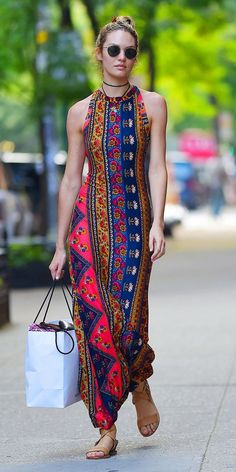 Candice Swanepoel in Stylish Summer Long Dress- Out in NYC - July Candice Swanepoel Style, Outfits and Clothes. Hippie Style, Hippie Chic, Bohemian Style, Mode Outfits, Casual Outfits, Style Outfits, Casual Dresses, Summer Outfits, Estilo Hippie