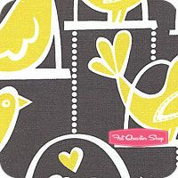 Citron Gray Gray Bird Swing Yardage by Michael Miller // for yellow & gray