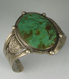 Old Wide Hvy Navajo Green Turquoise Stamped SLVR Bracelet | eBay