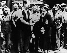 Frances Perkins appointed Secy of Labor, March 4, 1933. The appointment by President Franklin D. Roosevelt made Perkins the first female cabinet member in U.S. history. Here, Frances Perkins speaks with Carnegie Steel workers during the early years of the Roosevelt Administration. vis Frances Perkins Center Facebook page.