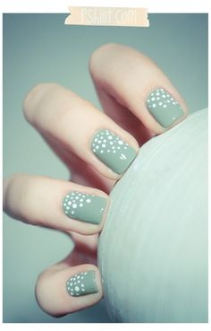 Mint nail art. maybe purple or blue instead of the green