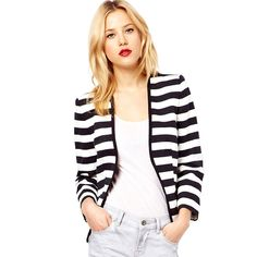 Stripe Short Western Coats For Women