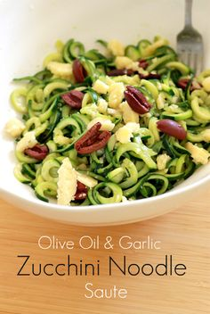 Olive Oil & Garlic Zucchini Noodle Saute - This recipe is something I will be making the rest of the season because it's simple, delicious, tangy, and refreshing.