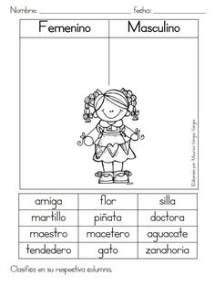 """Feminine and masculine"" (Spanish Primary Language Record) - Learn Spanish Spanish Classroom Activities, Spanish Teaching Resources, Bilingual Classroom, English Activities, Bilingual Education, Language Activities, Spanish Lessons, Kindergarten Activities, Learning Activities"
