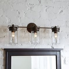 Dimmable 3 Light Aged Bronze Bathroom Vanity Light Mason Jar Glass Rustic Casual
