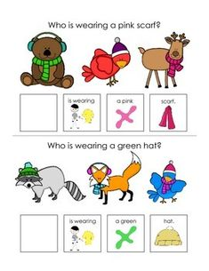 These interactive books are designed to help your students answer basic who, what, and where questions. The first book focuses on who questions. Each page features pictures of winter animals as well as a who question about the picture. For example Who is wearing pink gloves?