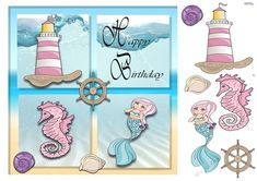 A sea and sand frame surrounds our underwater fantasy. A mermaid, lighthouse and sea horse on a water background. Decoupage the lighthouse, mermaid, seahorse, shells and ships wheel. Ideal for little girls. Birthday Verses For Cards, Birthday Cards, Happy Birthday, Carnival Fantasy, Water Background, Fairy Princesses, Card Designs, Lighthouse, Underwater