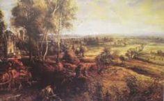 Paisagem outonal com uma vista de Het Steen