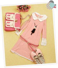 Women's Wool-Like Fabric Dress With Lace Embellished Design Without Belt (PINK,ONE SIZE) China Wholesale - Sammydress.com