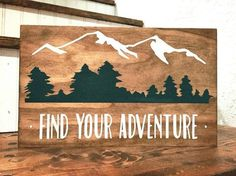 Find Your Adventure Wood Sign Mountain Decor Trees Rustic Sign Home Decor Shelf Decor Baby Boy Nursery Woodland Nursery Home Decor Shelves, Wood Home Decor, Home Decor Colors, Colorful Decor, Woodworking Projects Diy, Wood Projects, Woodworking Tools, Woodworking Machinery, Custom Woodworking