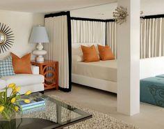 штора для зонирования в спальне гостиной
