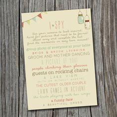 I Spy Wedding Game - Printable, Custom - DIY Wedding - Vintage, Photo Challenge on Etsy, $20.00