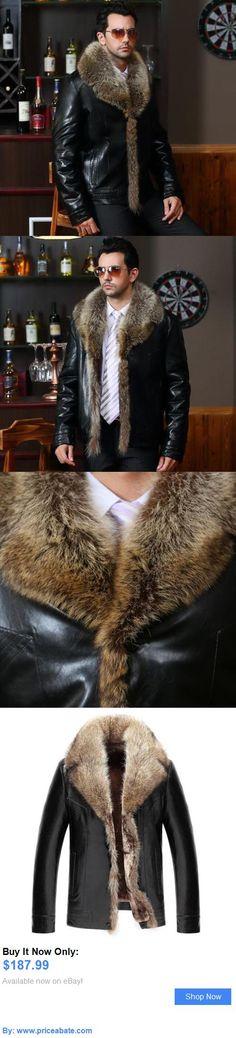 Men Coats And Jackets: Mens Winter Warm Leather Jacket Motorcycle Coat Real Mink Fur Collar Outwear New BUY IT NOW ONLY: $187.99 #priceabateMenCoatsAndJackets OR #priceabate