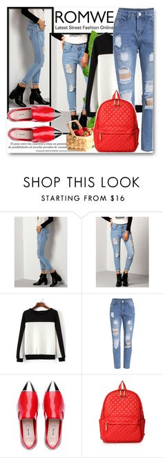 """""""Riped Jeans Romwe#1"""" by kpopmember ❤ liked on Polyvore featuring M Z Wallace"""
