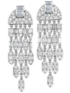 A Pair of Diamond Ear Pendants, CARTIER