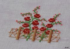 Although there is winter outside, the flowers start to blossom! 123 Cross Stitch, Cross Stitch House, Cross Stitch Cards, Cross Stitch Borders, Cross Stitch Flowers, Counted Cross Stitch Patterns, Cross Stitch Designs, Cross Stitching, Hardanger Embroidery