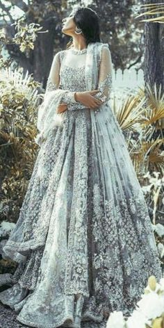 Indian Pakistani Bridal Anarkali Suits & Gowns Collection Wedding Fancy Anarkali suits for Asian brides in best designs and styles. Bridal Anarkali Suits, Indian Bridal Lehenga, Pakistani Wedding Dresses, Indian Gowns, Indian Wedding Outfits, Bridal Outfits, Indian Saris, Indian White Wedding Dress, Pakistani Lehenga