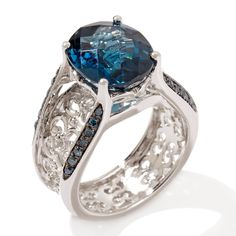 Victoria Wieck 5.33ct London Blue Topaz and Gemstone Sterling Silver Bridge Ring at HSN.com