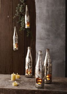 Portavelas Elaborados con Botellas Decoradas