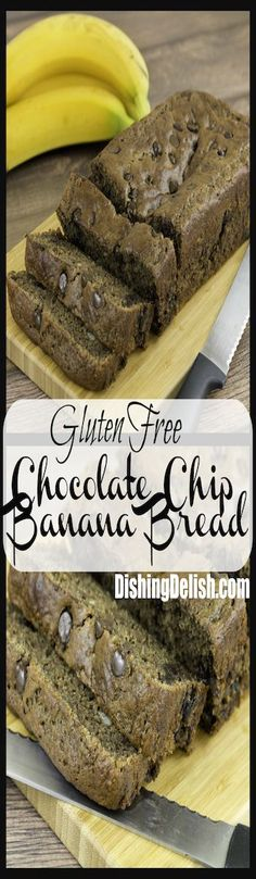 Repin to save for later and share with friends!  Gluten Free Chocolate Chip Banana Bread is moist and delicious, with a great chocolate-banana flavor! This recipe is simple to make and only requires one type of gluten free flour. A dash of cinnamon gives this chocolate banana bread an extra hit of flavor!
