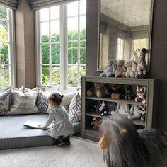 Hanging out in Ava's playroom this morning. This little reading corner is our favourite for lazy mornings. I used cushions and I've linked the shelves and rocking sheep on and I'll share the links on my instastories. Childrens Reading Corner, Kids Corner, Childrens Rooms, Twin Girl Bedrooms, Girls Bedroom, Sister Bedroom, Bedroom Ideas, Baby Playroom, Baby Room Decor