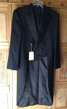 NEW Alexander Dobell Wool Black Label Frock White Tie Tailcoat 38S Tux $159