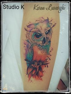 Tattoo coruja aquarela