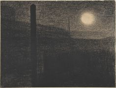 Georges Seurat (French, Paris 1859–1891 Paris), Courbevoie: Factories by Moonlight, 1882–83, Conté crayon.