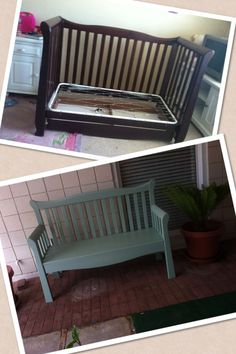 Build a park bench from an old baby crib