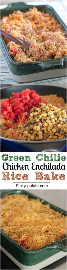 Green Chilie Chicken Enchilada Rice Bake, dinner done in under 30 minutes! Simple weeknight dinner idea :)