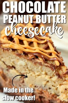 Chocolate Peanut Butter Cheesecake - This yummy slow cooker dessert is the epitome of comfort food. It's thick, dense, moist and sweet. It's everything a cheesecake should be and then some. Homemade Desserts, Easy Desserts, Dessert Recipes, Chocolate Graham Crackers, Chocolate Peanuts, Chocolate Peanut Butter Cheesecake, Chocolate Recipes, Slow Cooker Desserts, Cooker Recipes