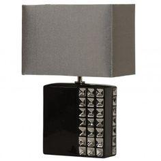 Lampa Plata Black czarna z ozdobą ceramiczną podstawą - LampyTanie - 222,63 PLN