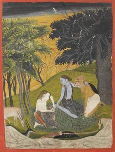 Lakshman removing a thorn from Rama's foot & Hanuman watching,