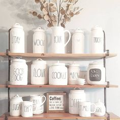 Rae Dunn Display Ideas To Make Beautiful Decor In Your Home 21086 Ray Dunn, Dog Coffee, Country Farmhouse Decor, Canister Sets, Dining Room Design, Humble Abode, Kitchen Decor, Kitchen Ideas, Home Furniture