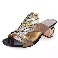 Fashion Rhinestone Cutout Sparkly Jewel Accent Low Heel Slip On Sandals 6 Colors