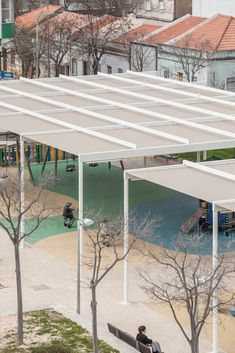 Image 1 of 38 from gallery of Portimão Shading Structure / Coletivo Cais. Photograph by Francisco Nogueira Patio Wall, Patio Roof, Pergola Patio, Pergola Plans, Canopy Architecture, Architecture Details, Landscape Architecture, Roof Structure, Shade Structure