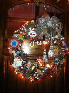 My handmade Vintage Christmas wreath for front door