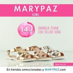 """MARYPAZ GIRL Emoticón heart Emoticón heart Descubre la colección """"mini"""" de MARYPAZ pensada para las más pequeñas de la casa Emoticón smile Disponibles en tiendas seleccionadas y en nuestra NUEVA WEB marypaz.com ¡ SANDALIA PLANA con velcro NIÑA 14,99 € ! Descubre toda la Colección MARYPAZ GIRL aquí ► http://www.marypaz.com/girl.html"""