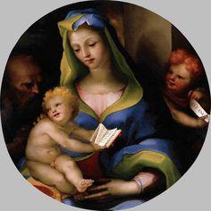Доменико Беккафуми . Святое семейство с молодым Иоанном Крестителем. 1523-24. Дерево. Музей Тиссена-Борнемисы, Мадрид.