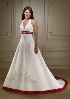 wedding dresses strapless ivory and red 2012