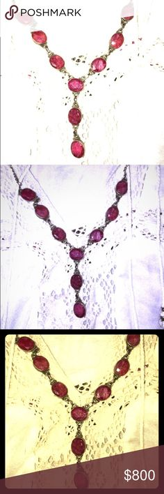 """Heirloom Vintage/ Antique Raw Ruby Drop Necklace Tried every lighting to catch the pure raw elemental beauty of these stones & still didn't do justice! I've had this a LONG time. It's my birthstone, so I've likely seen >1k diff cuts, pieces, origins, no date but it's OLD & by far one of the most beautiful pieces I've ever seen. I'll only part if it's """"meant to be"""". I collect gems, stones, minerals somewhat religiously & believe they find their way home. I haven't worn this in years so…"""