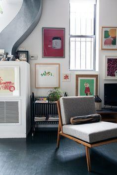 art wall, Jesse & Loren's Brooklyn Apartment | Photo by Brian Ferry