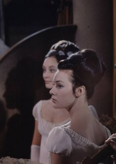 "Russian film version of Leo Tolstoy's novel ""War and Peace"", 1967. Ludmila Savelyeva as Natasha Rostova and Anastasiya Vertinskaya (in the background) as Liza Bolkonsky."