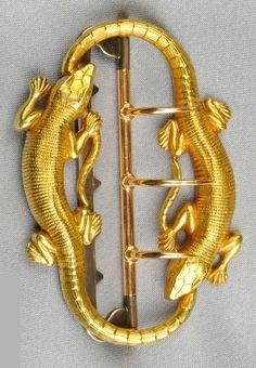 Art Nouveau Gold Buckle, Maison Menu, France, designed as lizards Dragon Jewelry, Snake Jewelry, Animal Jewelry, Bijoux Art Nouveau, Art Nouveau Jewelry, Jewelry Crafts, Jewelry Art, Jewelry Design, Gold Jewelry