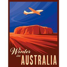 illustration of vintage retro travel poster vacation dc3 dc9 dc4 ayers rock uluru australian scene outback