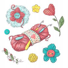 Set for handmade ball of yarn and accessories for crocheting and knitting. Crochet Tattoo, Crochet Art, Love Crochet, Logo Atelier, Pumpkin Vector, Handmade Gift Tags, Sewing Art, Grafik Design, Craft Stick Crafts