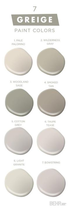 """You can never have too much of a good thing with this collection of classic neutral paint colors from BEHR. Embrace """"Greige,"""" and mixture of gray and beige, in your home and see what a fresh coat of paint can do for you. The experts at BEHR can help you pick and choose from thousands of high-quality paint to create a color palette that perfectly reflects your unique sense of style. by marci"""