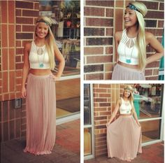 BOHO CHIC COACHELLA OUTFIT ? long skirt with crop top?