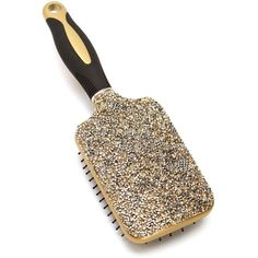 Gold Rhinestone Paddle Hair Brush (23 RON) ❤ liked on Polyvore featuring beauty products, haircare, hair styling tools, brushes & combs, paddle brush, hair brush comb and hair brush